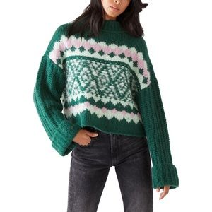 Free People Alpine Knit Pullover Mock Neck Sweater